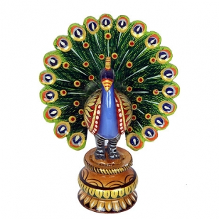 Wooden Painted Dancing Peacock 4 inch