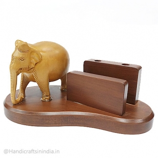Wooden Mobile Holder & Elephant Statue