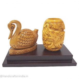 Carved Wooden Pen holder & Duck