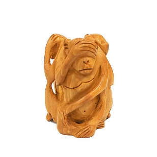 Wooden Three Monkeys Statue