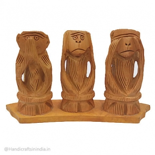 Wooden Monkey Set 3 Inch Height