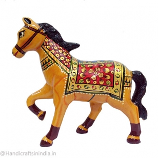 Wooden Walking Horse Statue