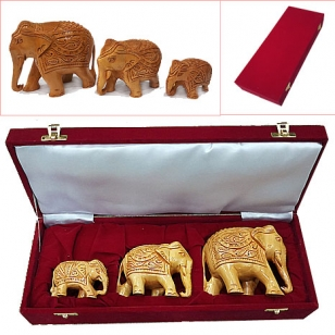 Wood Carving Elephant Set of 3pc in Velvet Box Packing