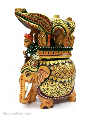 Wooden Painted Ambabari Elephant Statue