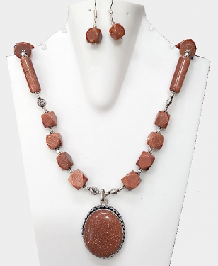 Gold Sandstone Necklace Set