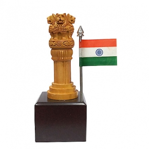 Wooden Ashoka pillar & Flag 6 Inch Height
