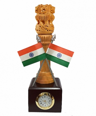 Wooden Ashoka Pillar with Clock and 2 Flag
