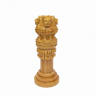 Wood Carving Ashoka Pillar - Pack of 2pc
