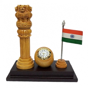 Wooden Clock with Ashoka pillar & Flag