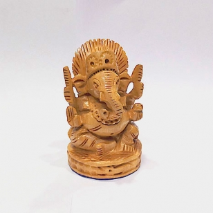 Wooden Carved Ganesh Idol