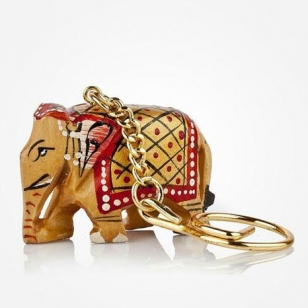 Wooden Painted Elephant Keychain - Pack of 12pc