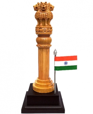 Wooden Ashoka pillar with Flag