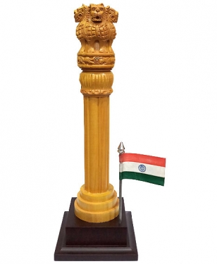 Wooden Ashok Pillar 12 inch with Flag