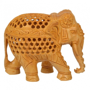 White Wood Undercut Elephant (13cm Height)