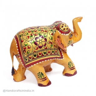 Wooden Floral Painting Elephant