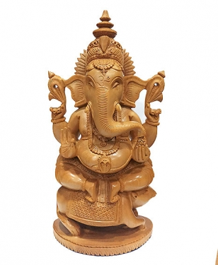 Wooden Ganesh sitting on Mouse