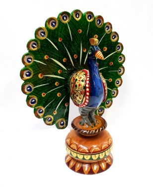 Wooden Dancing Painted Peacock 6 inch