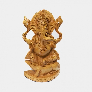 Wooden Ganesh – Hand Carved sitting on Mouse (Size: 6 inch)