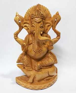 Wood Carving Ganesh sitting on Mouse (Size: 8 inch)
