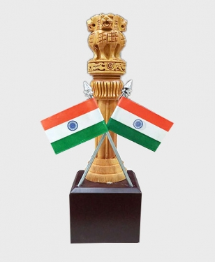 Wood Carving Ashok Pillar on Wooden Base 8 Inch height