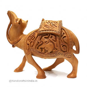 Wooden Floral Carved Camel 5 Inch Height