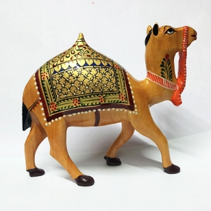 Wooden Painted Camel 5 inch Height