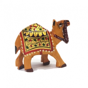 Wooden Painted Camel Statue Small