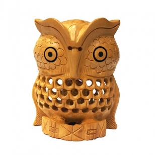 Wooden Owl Statue 3 Inch Height