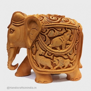 Handmade Shikar Carved Wooden Elephant