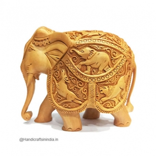 Wooden Shikar Carved Elephant Statue 10cm