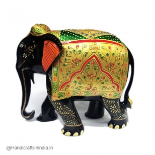 Wooden Painted Elephant (Black) - 13cm Height