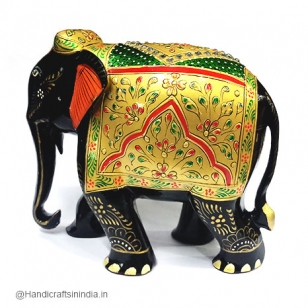 Wooden Painted Elephant (Black) - 15cm Height