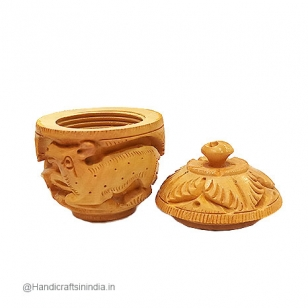 Wooden Sindoor Box 2.5 Inch Diameter