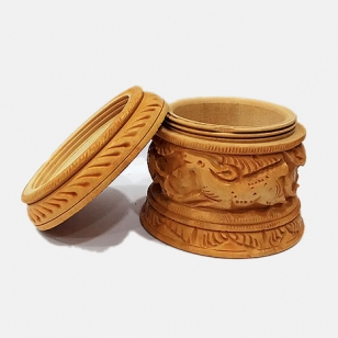 Wooden Powder Box 3 Inch Diameter