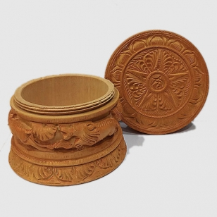 Wooden Powder Box 4 Inch Diameter