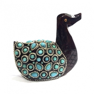 Wooden Carved & Beaded Duck Statue