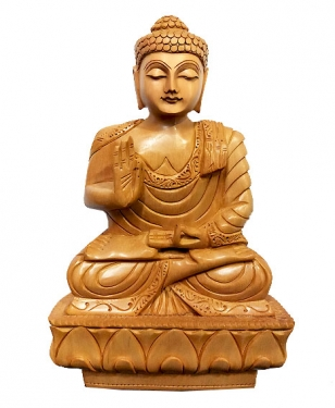 Wooden Fine Carved Buddha Statue 8 inch Height