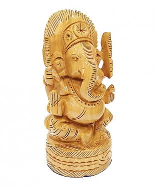 Wooden Carved Round Ganesh 6 inch