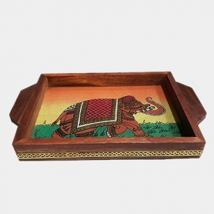 Gemstone Painting Wooden Tray