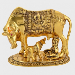 Metal Golden Cow & Calf (Kamdhenu)