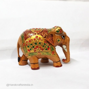 Wooden Emboss Painted Elephant 8 cm
