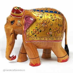 Wooden Embossed Painted Elephant 13 cm