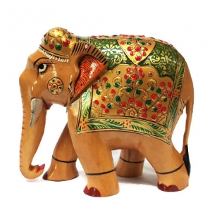 Wooden Embossed Painted Elephant 15 cm