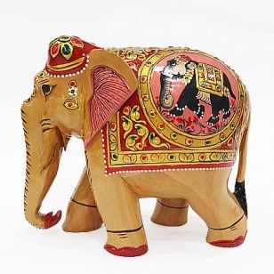 Wooden Figure Painted Elephant 13cm