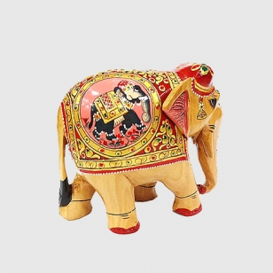 Wooden Painted Elephant Figurine 10 cm