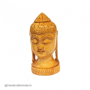 Wooden Round Buddha Head 3 Inch Height