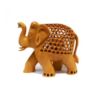 Wooden Jali Trunk up Elephant 8cm