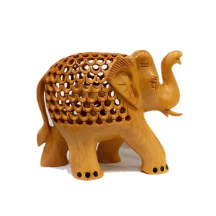 Wooden Jali Trunk up Elephant 10cm