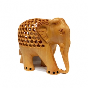 Wooden Handmade Jali Elephant (8cm Height)