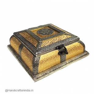 Wooden Dry Fruit Box (Golden)